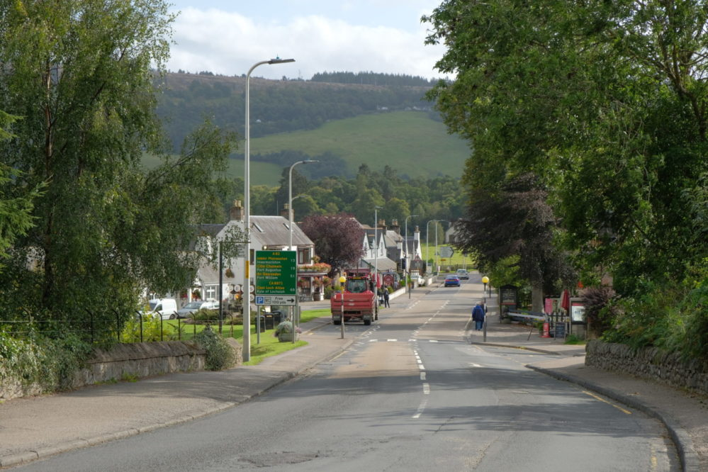 View of the A82 through the village of Drumnadrochit
