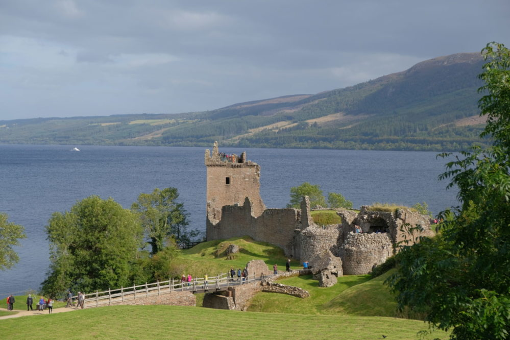 View of Urquhart Castle on Loch Ness near Drumnadrochit