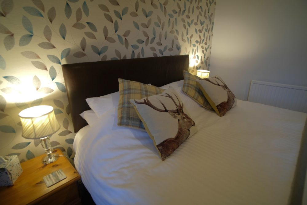 View of the bed in the Great Glen Bedroom at Morlea B&B Loch Ness