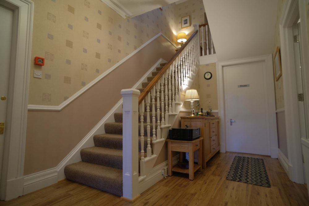 View of the hall and stairs at Morlea B&B, Drumnadrochit