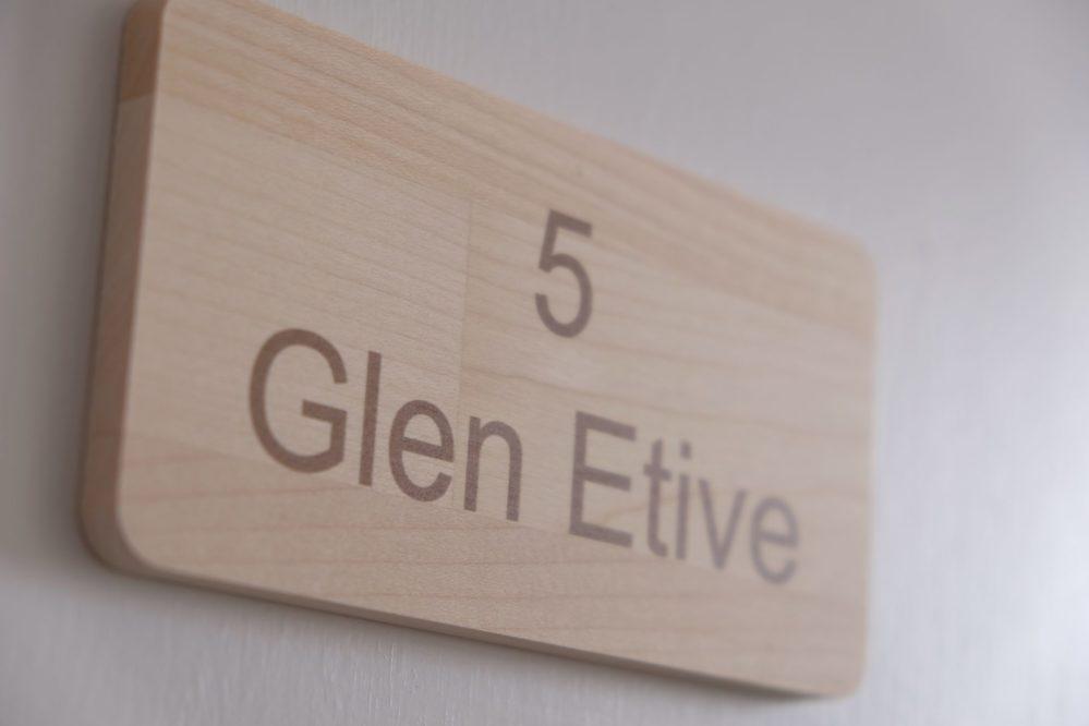 Room 5 Glen Etive door sign at Morlea B&B